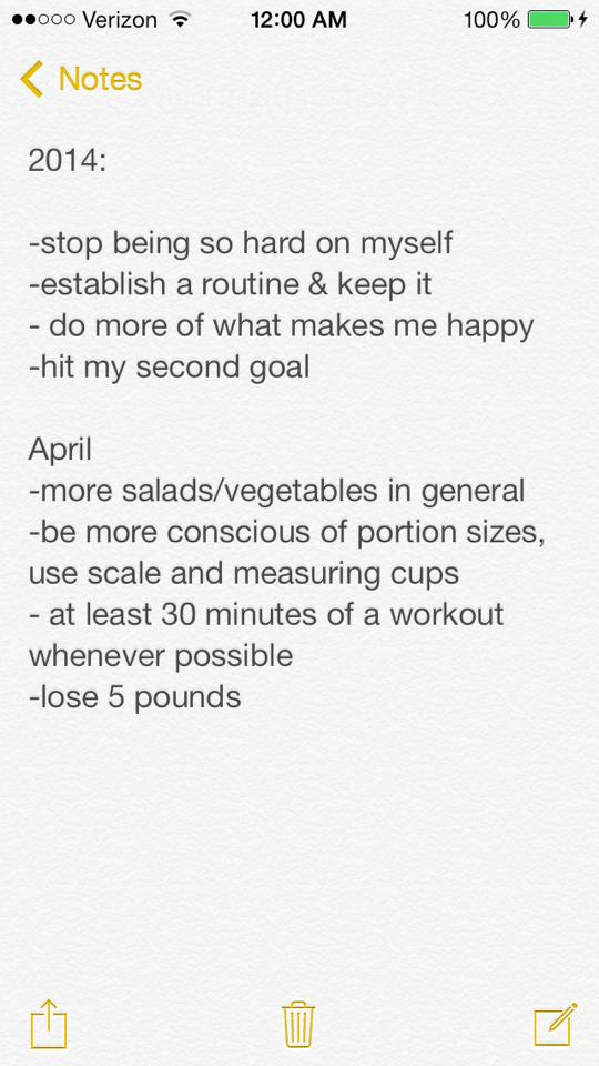 Goals for 2014 and for April